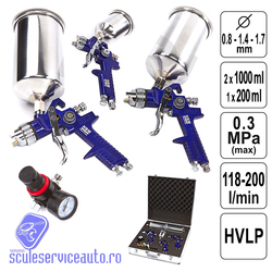 Set Pistol de Vopsit 0,8 - 1,4 - 1,7 mm - HVLP - 3 buc + Regulator - 3788-HBM